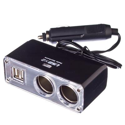 NEW GALAXY Разветвитель прикуривателя 2 гнезда + 2 USB, 3,1A, арт.№ 768-273