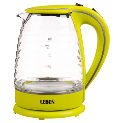 LEBEN Чайник электрический 1,7л, 1850Вт, скрытый нагр.элемент, стекло, рифлёное стекло, арт.№ 475-133