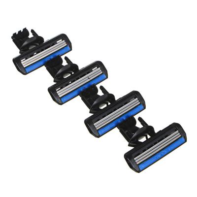 Кассеты сменные для бритвенного станка с тройным лезвием 4шт, силикон, пластик, арт.№ 346-012