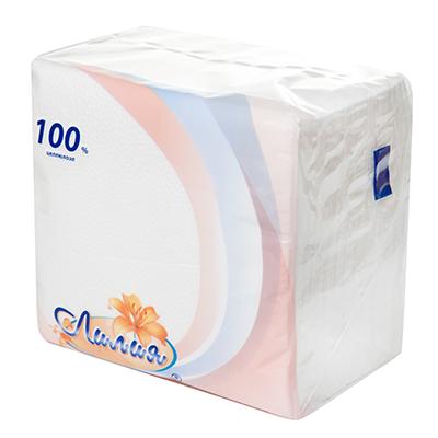 Салфетки бумажные Лилия Белые, 100л, арт.0080/1, арт.№ 912-003