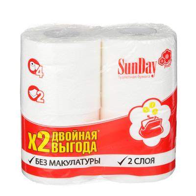 Туалетная бумага SunDay 2-х слойная белая, 4шт, арт.№ 918-002