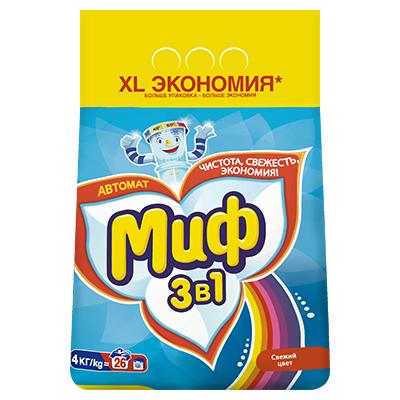 Стиральный порошок МИФ Автомат 3в1 Свежий цвет пэт 4кг, арт.№ 958-064