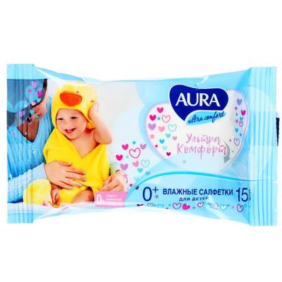 AURA Салфетки влажные для детей AURA ULTRA COMFORT 15шт арт.05155/13398, арт.№ 914-014