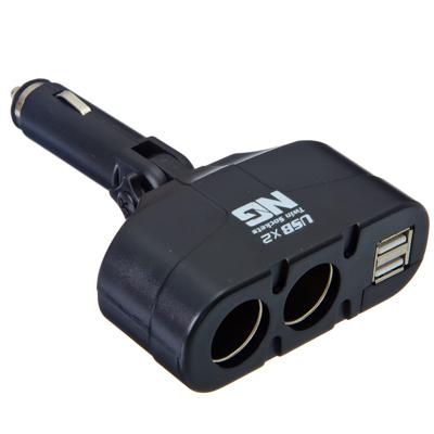 NEW GALAXY Разветвитель, штекер-корпус, 2 выхода + 2 USB 1000mA, 60W, LED индикация, 12/24В, арт.№ 738-002