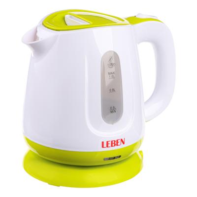 LEBEN Чайник электрический 1,0л, 900Вт, скрытый нагр.элемент, пластик, подсветка, 1, арт.№ 291-012