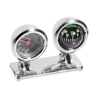 NEW GALAXY Компас и термометр автомобильные, хром, блистер, арт.№ 732-051