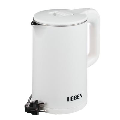 LEBEN Чайник электрический 1,7л, 1850Вт, скрытый нагр. элемент, белый пластик., арт.№ 291-040