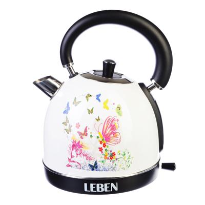 LEBEN Чайник электрический 1,8л, 1850Вт, нерж сталь, терморисунок 2, арт.№ 291-041