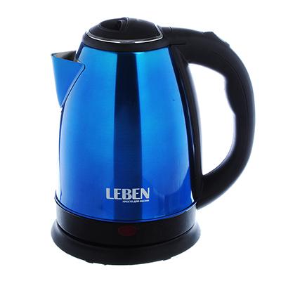 LEBEN Чайник электрический 1,8л, 1500Вт, нерж. сталь, синий, арт.№ 291-056