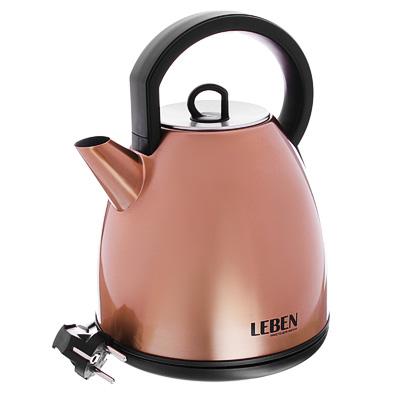 LEBEN Чайник электрический 1,7л, 2200Вт, нерж.сталь, бронза, арт.№ 291-072