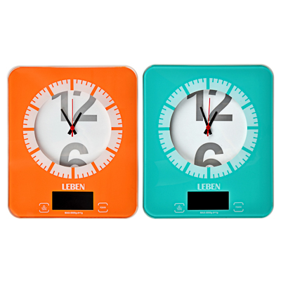 LEBEN Весы кухонные электронные с часами, макс.нагр.до 5кг (точн.измер. 1 гр), пластик, 2 цвета, арт.№ 268-053