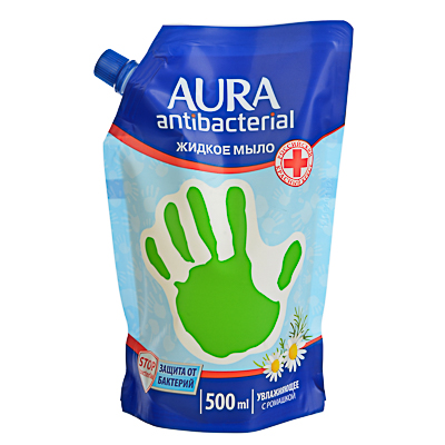 Мыло жидкое AURA с антибактериальным эффектом, 500мл, ромашка, дой-пак, арт.№ 952-094