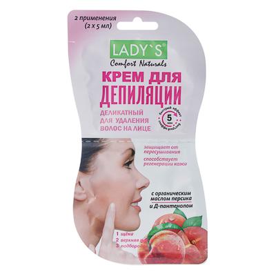 Крем для депиляции LADY S Comfort Naturals деликатный, для удаления волос на лице, 10 мл, арт.№ 977-130