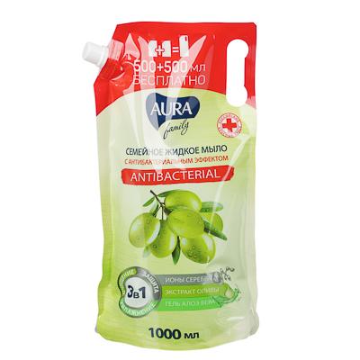 Мыло жидкое AURA с антибактериальным эффектом,семейное, дой-пак,1л, арт.№ 952-100