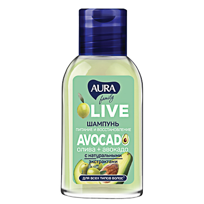 Шампунь AURA Family олива + авокадо, 50мл, арт.№ 974-097