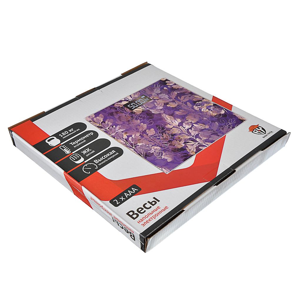 """Весы напольные электронные """"Легкость"""", ЖК-дисплей, макс. нагр.до 180кг, 28x28x0,5см, арт.№ 487-041"""