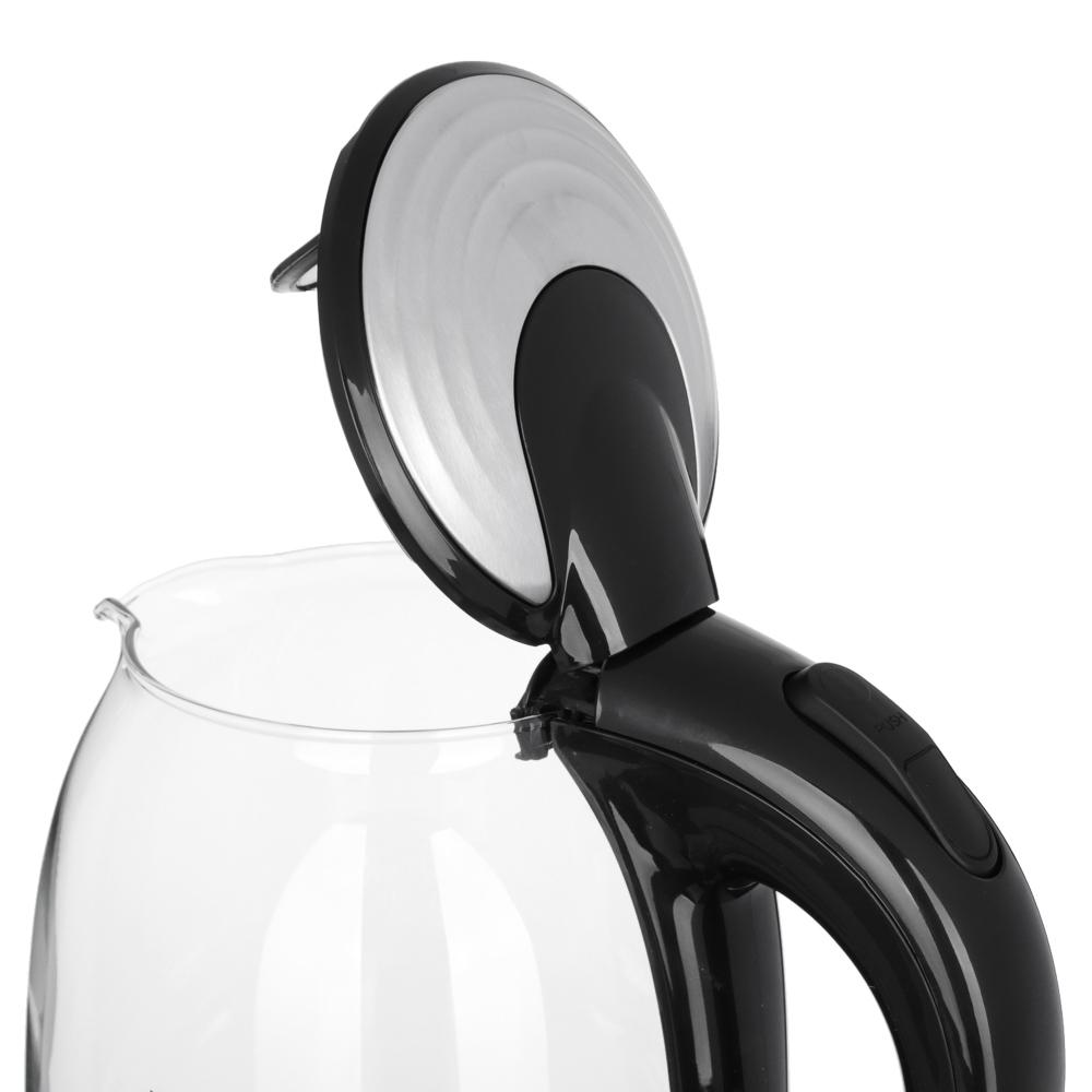 LEBEN Чайник электрический 1,7л, 1850Вт, скрытый нагр. элемент, стекло с поддержанием темп., арт.№ 475-132