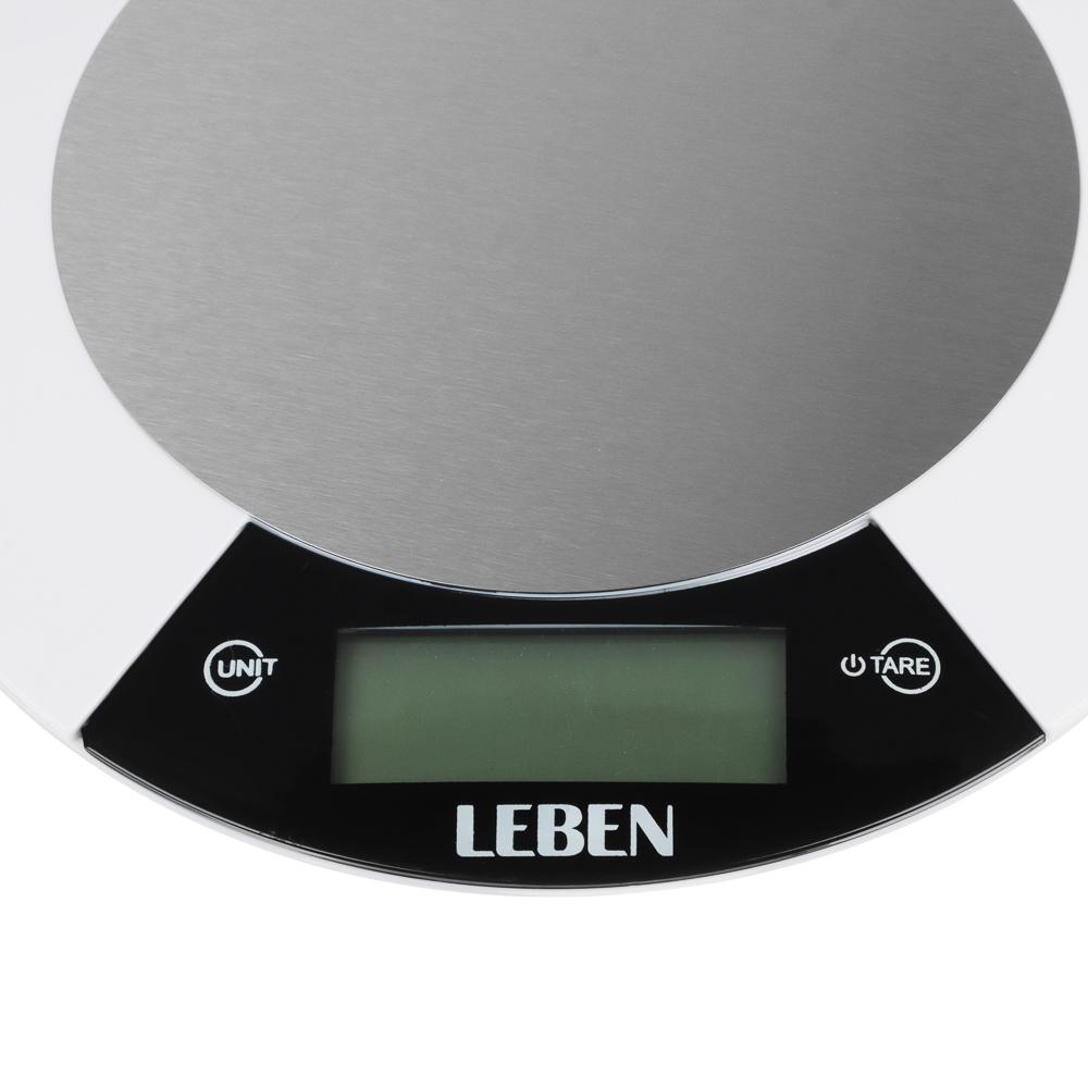LEBEN Весы кухонные электронные, металл.платформа, макс.нагрузка до 5кг, питание CR2032, арт.RF5, арт.№ 475-148