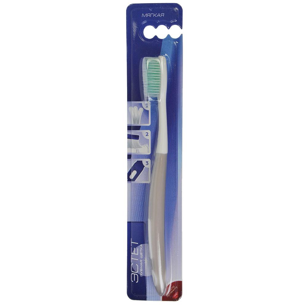 Зубная щетка Эстет, пластик, резина, мягкая жесткость, индекс 3, степень G<6, арт.№ 982-012