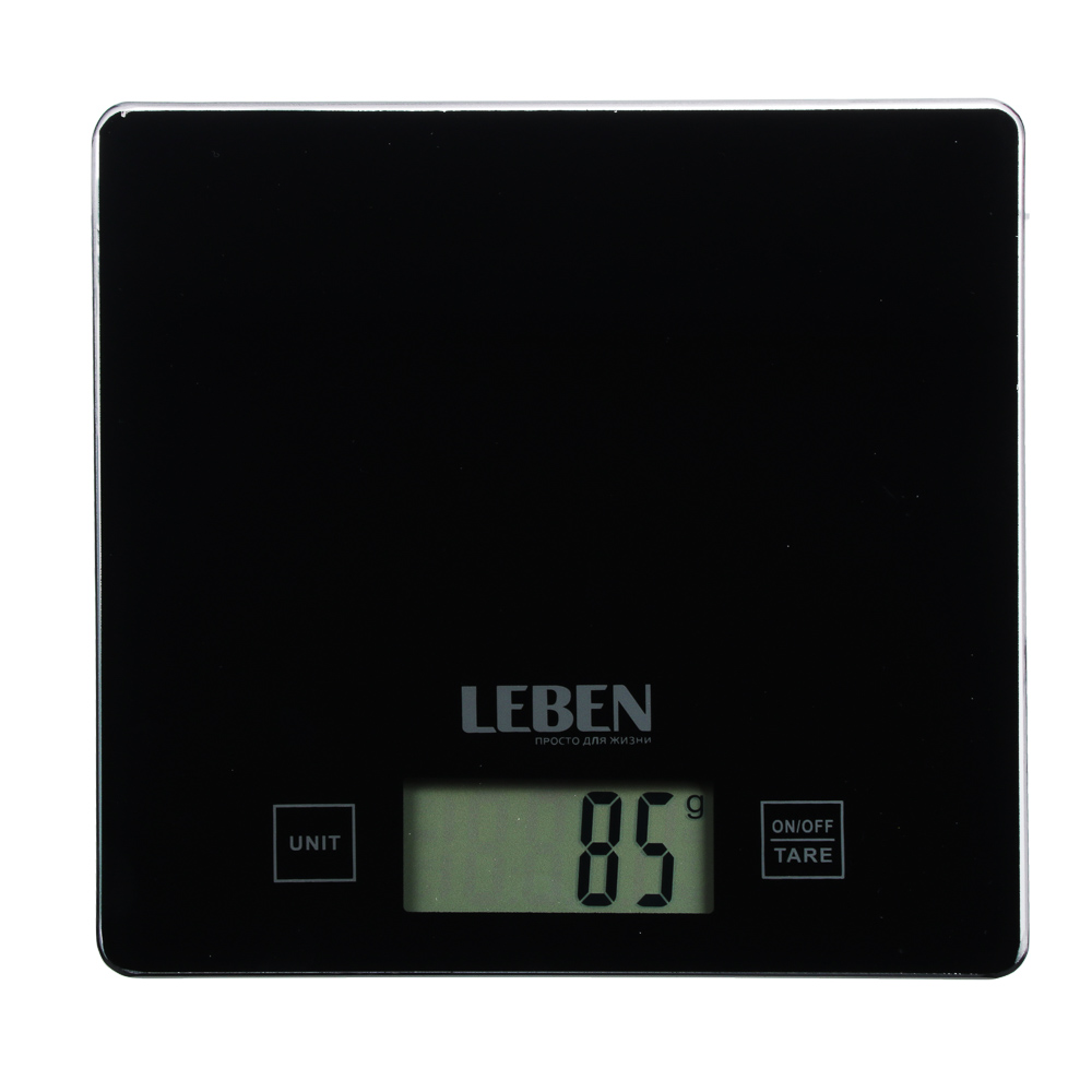 LEBEN Весы кухонные электронные, стекл.платформа, макс.нагр. 5кг (точн.измер. 1гр), арт.№ 268-045
