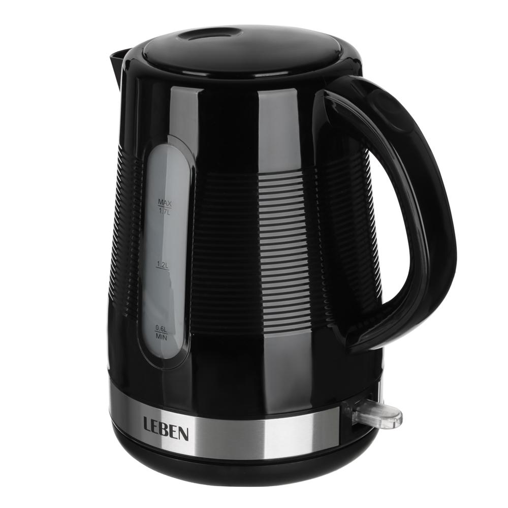 LEBEN Чайник электрический 1,7л, 1850Вт, скрытый нагр. элемент, рифлёный черный пластик., арт.№ 291-021
