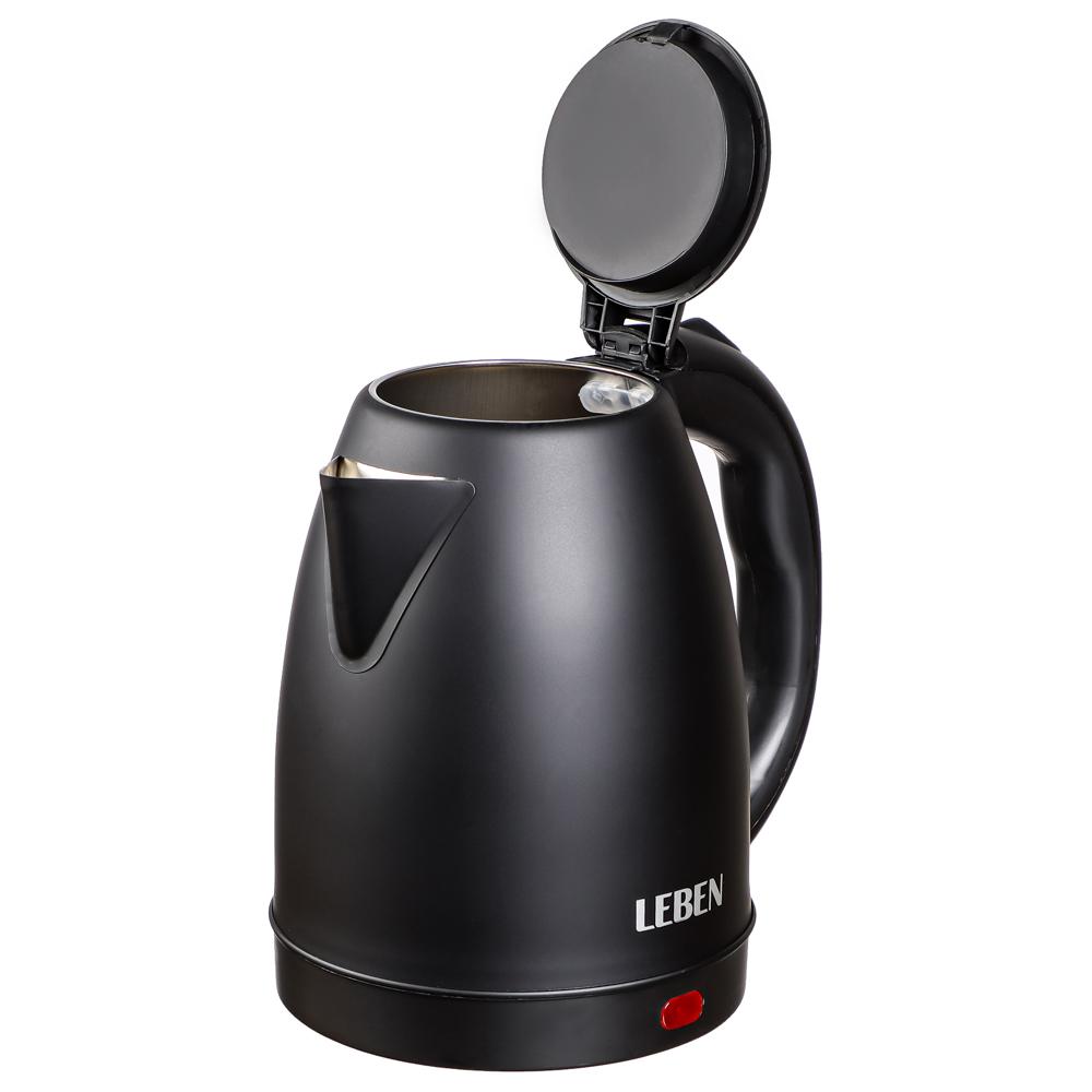 LEBEN Чайник электрический 1,8л, 1800Вт, скрытый нагр.элемент, нерж.сталь, черный, арт.№ 291-026