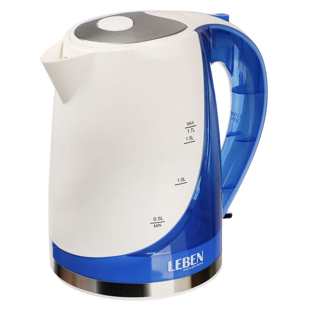 LEBEN Чайник электрический 1,7л, 1850Вт, скрытый нагр.элемент, автооткл., пластик, FK-1508-2, арт.№ 291-029