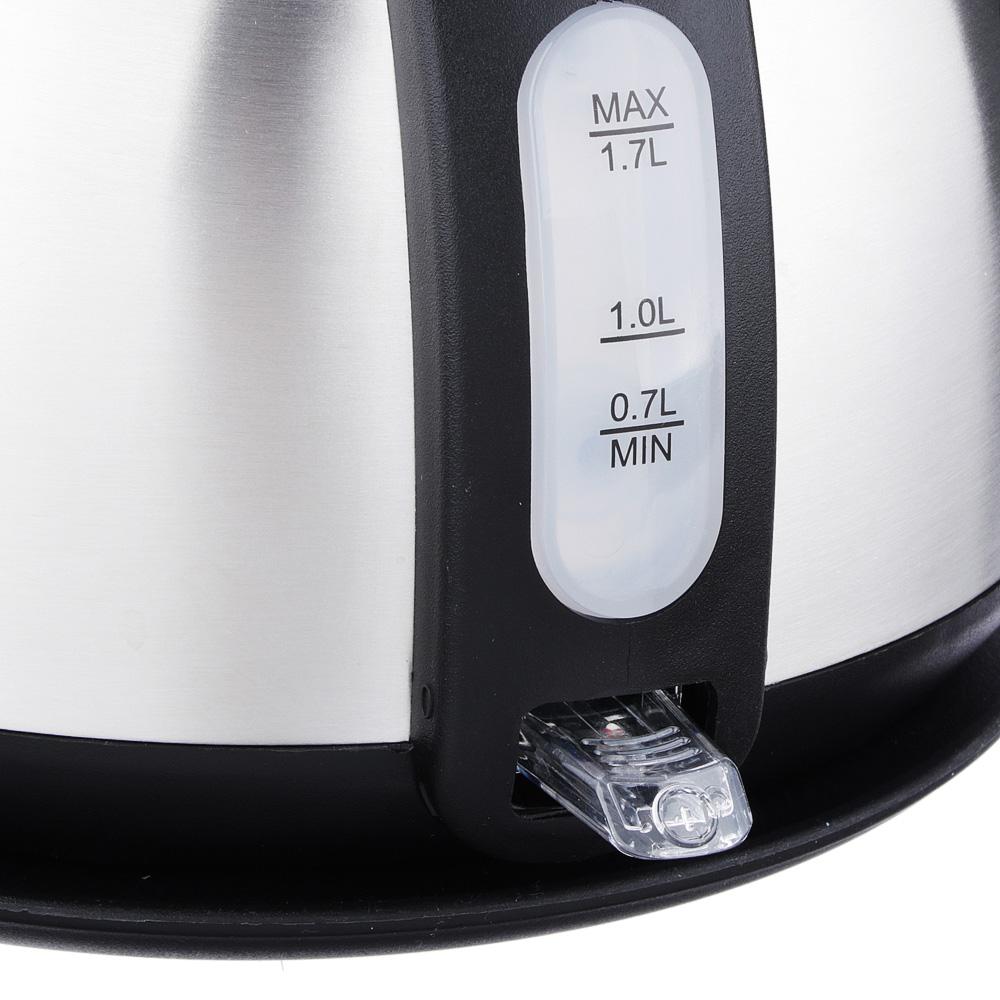 LEBEN Чайник электрический 1,7л, 1850Вт, нерж сталь, встр. термометр, T-9016, арт.№ 291-042