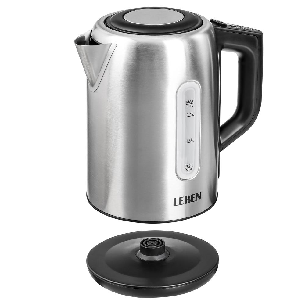 LEBEN Чайник электрический 1,7л, 1850Вт, скрытый нагр.элемент, поддержание темп., сталь, T-9013C, арт.№ 291-045