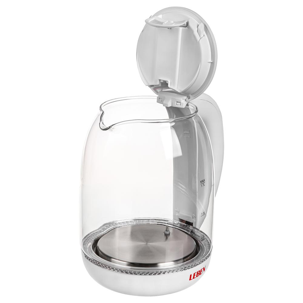 LEBEN Чайник электрический 1,7л, 1850Вт, скрытый нагр.элемент, автооткл., стекло, поддержание темпер, арт.№ 291-064