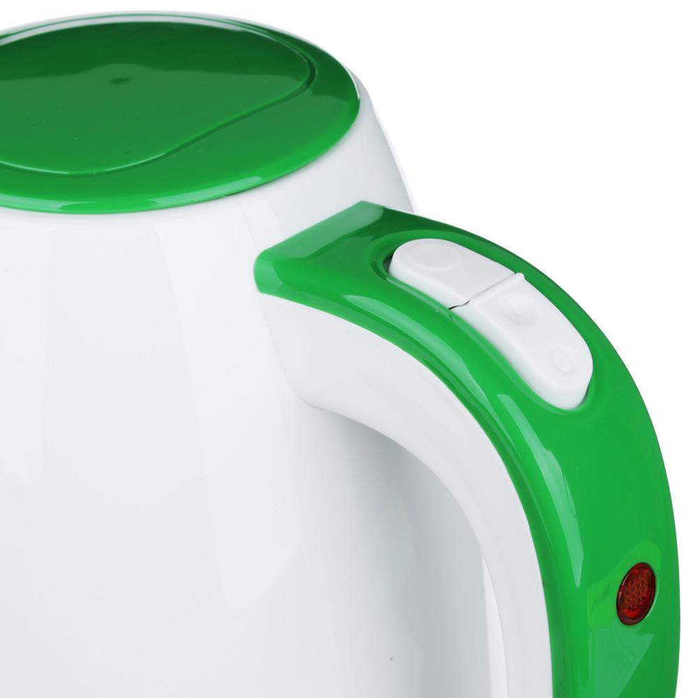 LEBEN Чайник электрический 1,7л, 2200Вт, пластик, белый с зеленым, с рисунком, арт.№ 291-067
