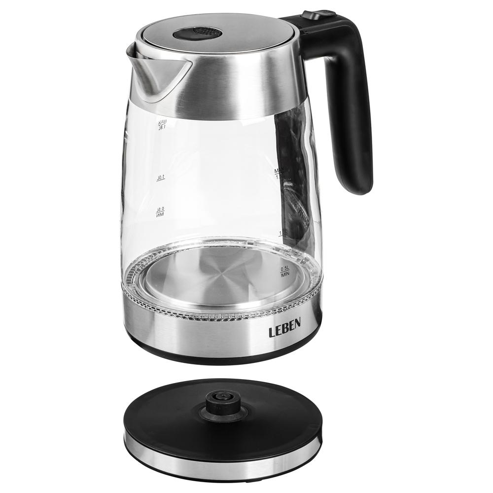 LEBEN Чайник электрический 1,8л, 1850Вт, стекло, LED подсветка, арт.№ 291-069