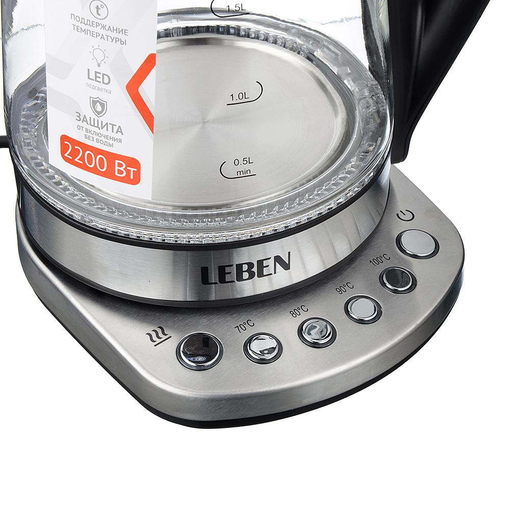 LEBEN Чайник электрический 1,7л, 2200Вт, поддерж. темп., подсветка, сталь/стекло, арт.№ 291-074