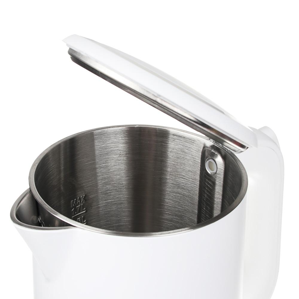 LEBEN Чайник электрический 1,8л, 2200Вт, скрытый нагр.элемент, двойное покрытие, белый, арт.№ 291-076