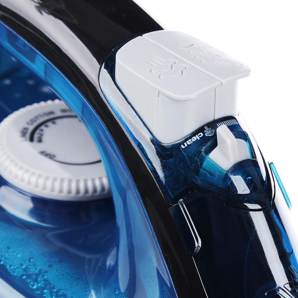 LEBEN Утюг с отпаривателем 1600 Вт, подошва - керамическое покрытие, синий, арт.№ 249-022