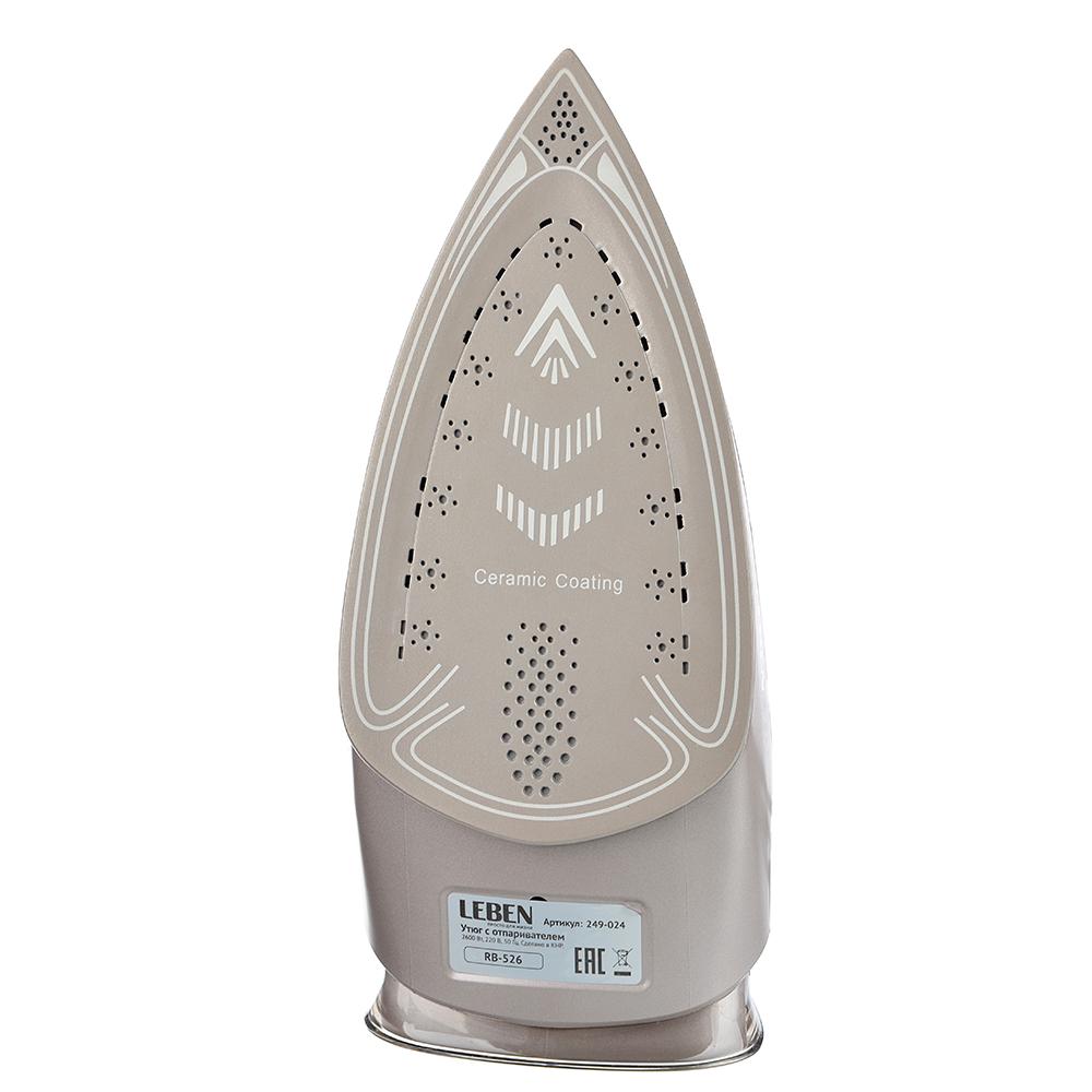 LEBEN Утюг с отпаривателем 2600 Вт, подошва - керамическое покрытие, розовое золото, арт.№ 249-024