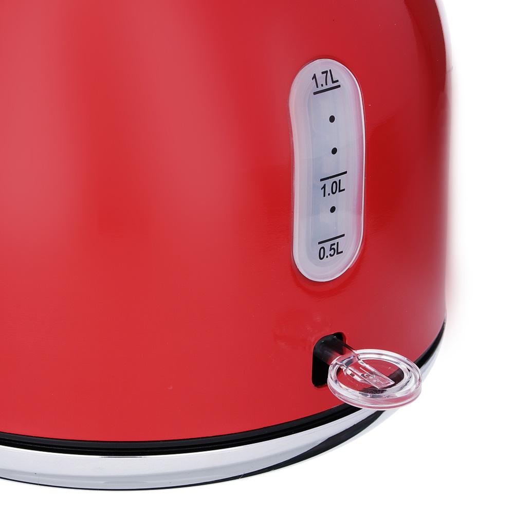 LEBEN Чайник электрический 2,0л, 2200Вт,нерж.сталь, красный, арт.№ 291-081