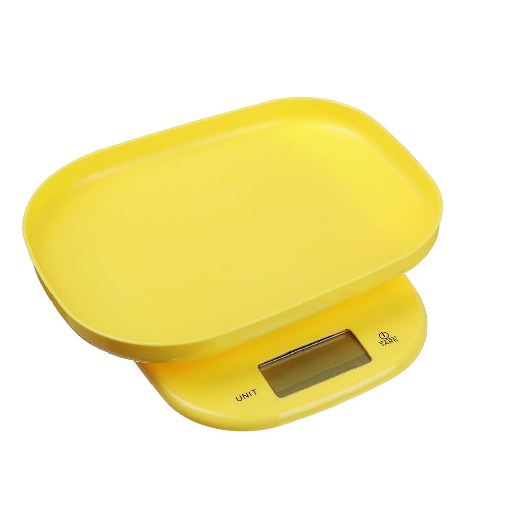 LEBEN Весы кухонные электронные с чашей, макс.нагр.до 5кг (точн.измер. 1 гр), пластик, 2 цвета, арт.№ 268-052