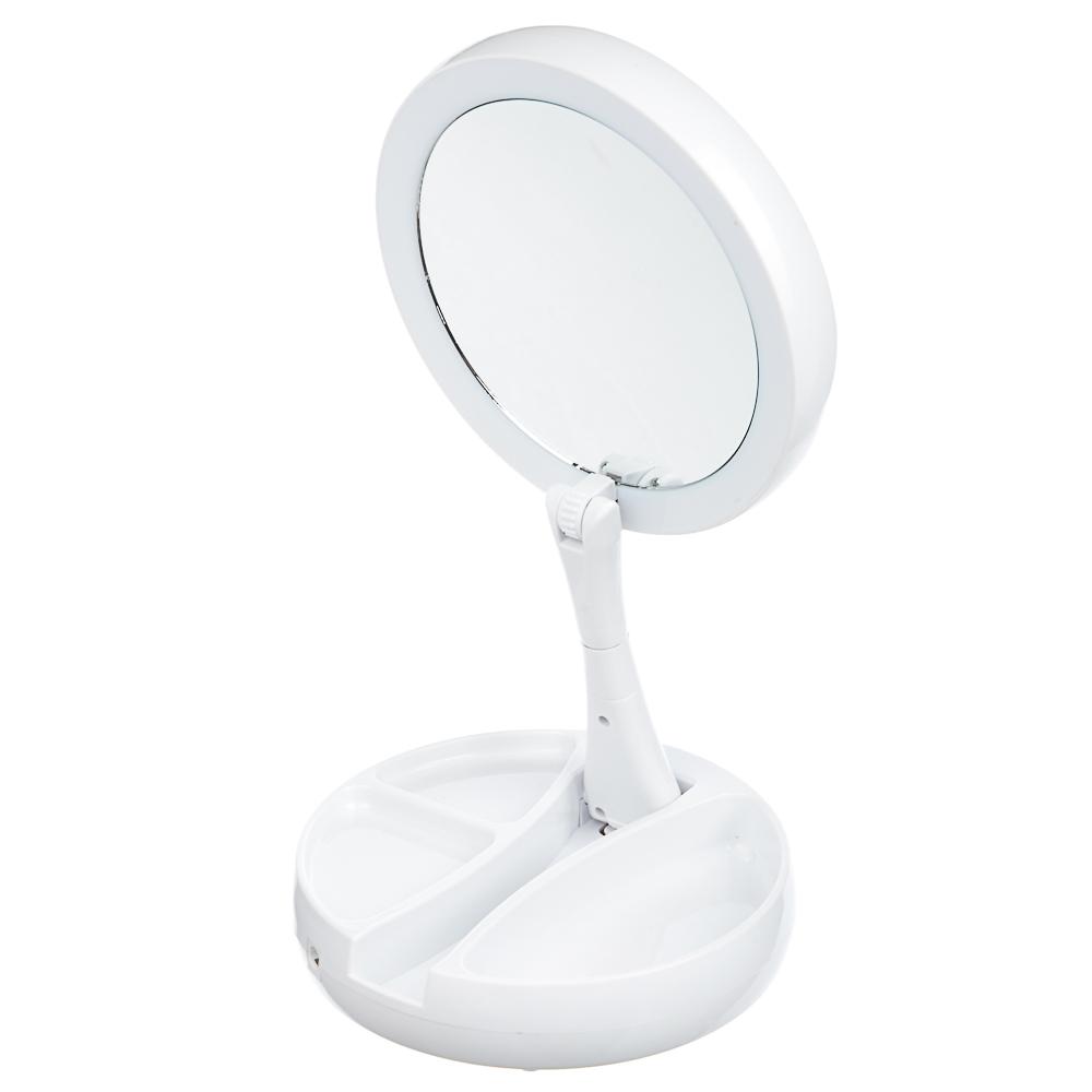 LEBEN Зеркало косметическое с подсветкой и отделением для хранения, USB/4хАА, пластик, стекло, арт.№ 263-012