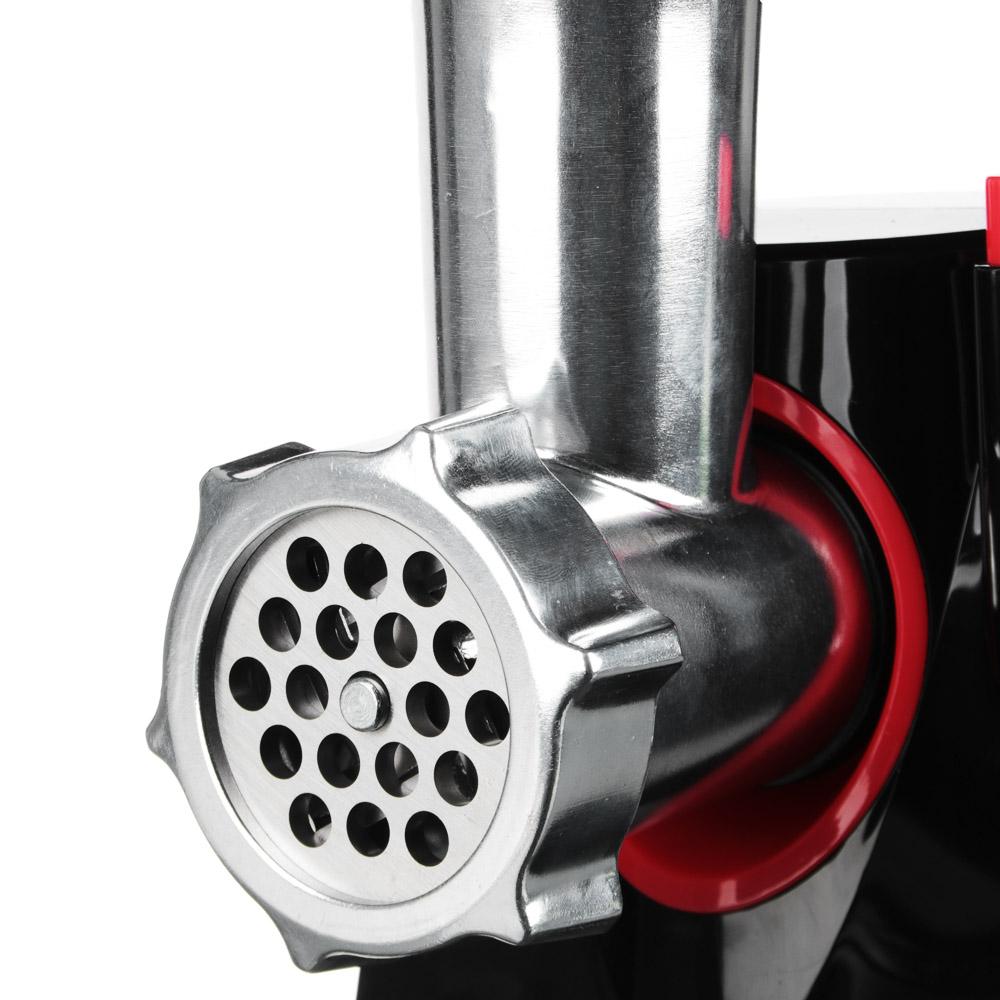 LEBEN Мясорубка электрическая 1200Вт, три режущих диска, реверс., пластик, черная с ручкой, арт.№ 269-037