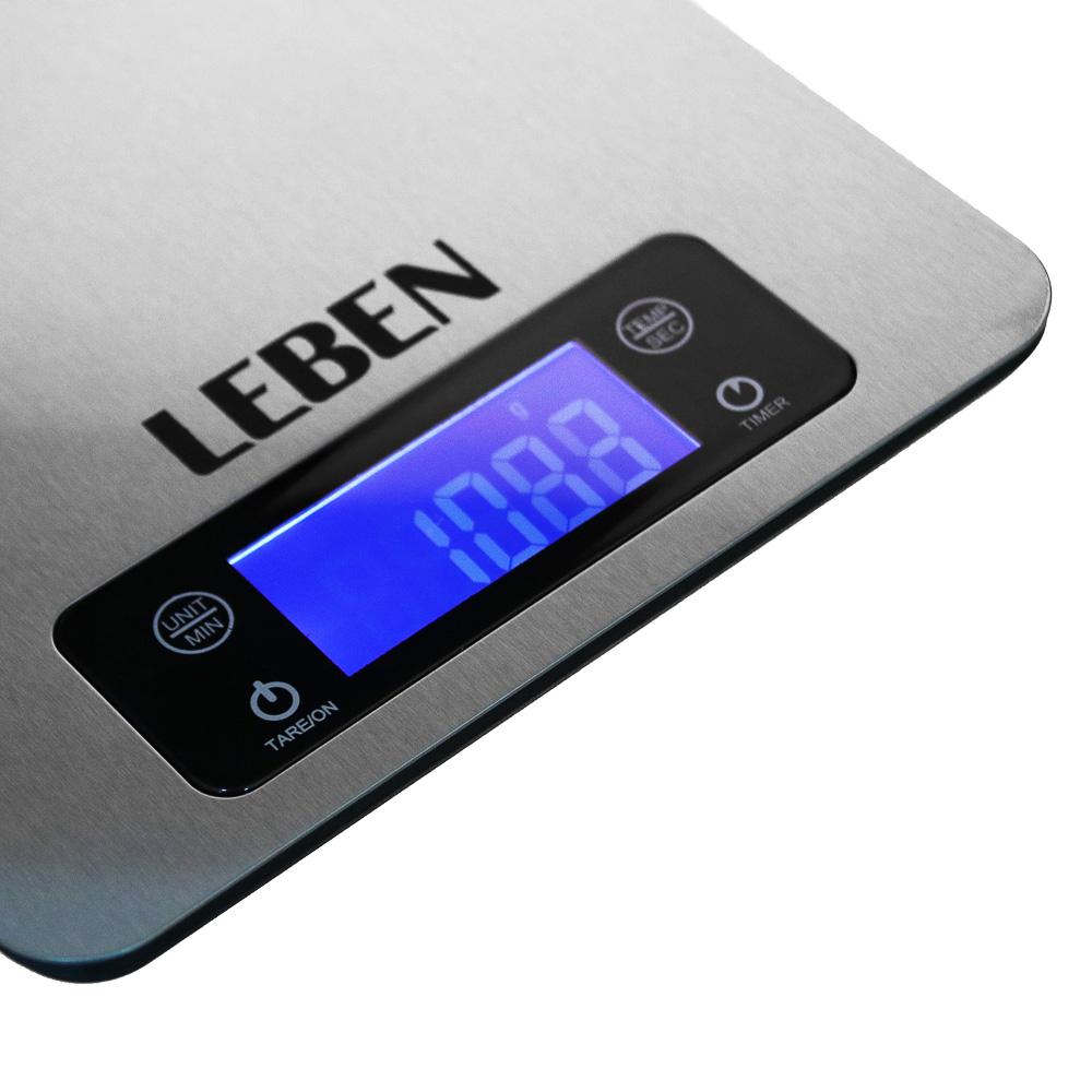 LEBEN Весы кухонные электронные, металл. на рейлинге, макс.нагрузка до 5кг (точн. измер. 1 гр), арт.№ 268-054