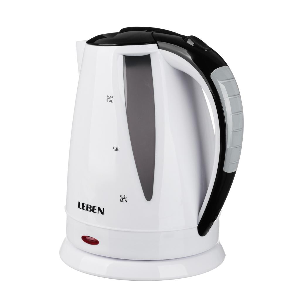 LEBEN Чайник электрический 1,8л, 1500Вт, 220-240В, 50Гц., пластик, арт.№ 291-083