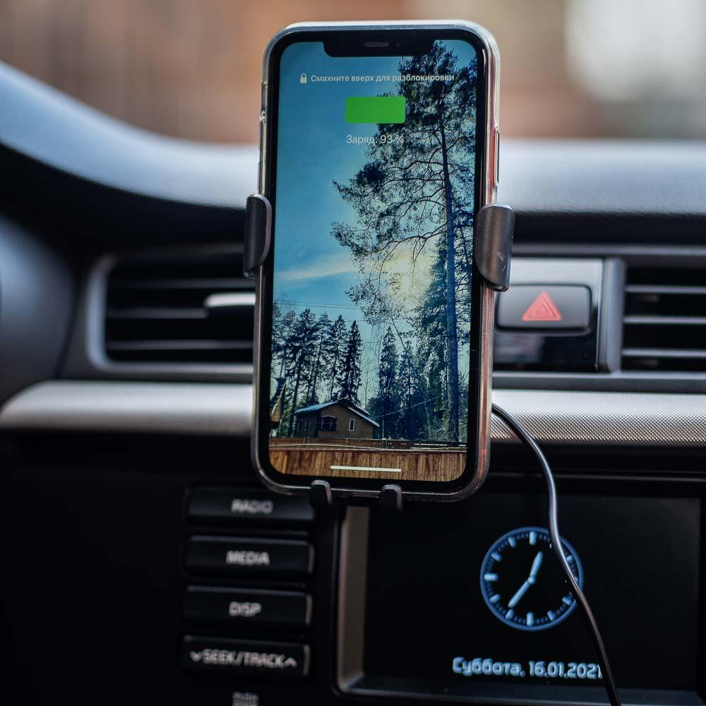 NG Держатель телефона на дефлектор с беспроводной зарядкой, 10W, 2А, пластик, арт.№ 733-036