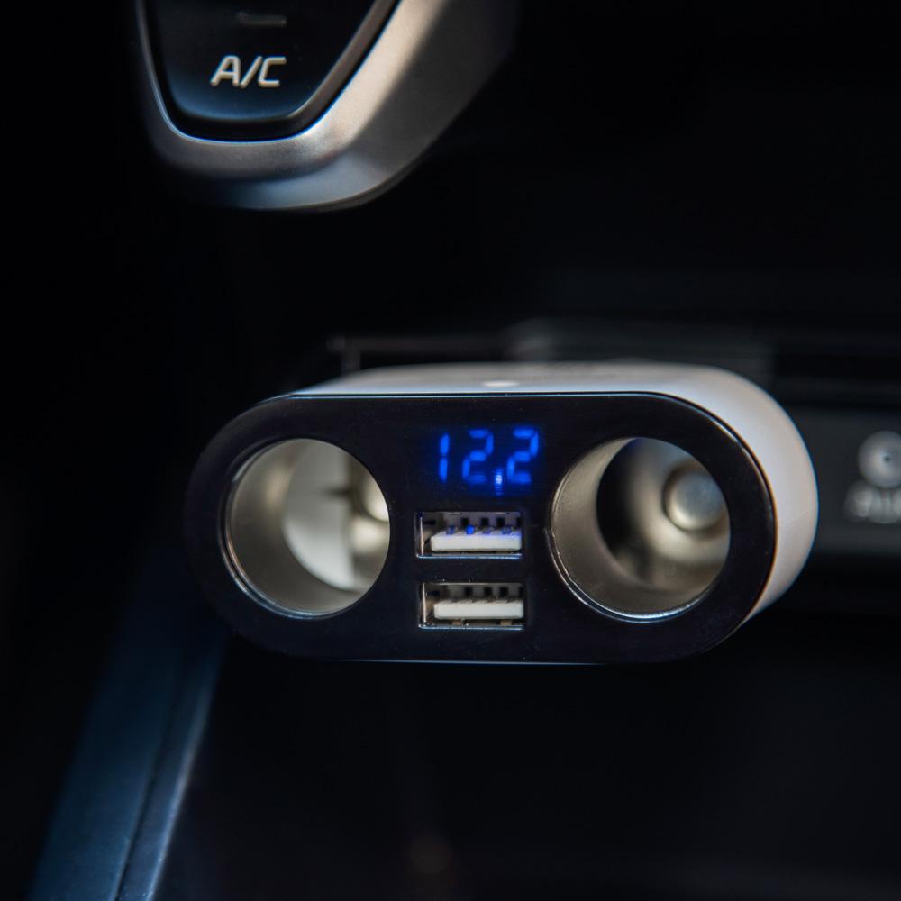 NG Зарядное устройство в авто с дисплеем, 2 гнезда прикуривателя, 2xUSB, 2.4A, блистер, пластик, арт.№ 738-025